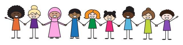 Femmes de différentes courses Amitié des peuples illustration libre de droits