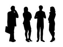 Femmes de silhouettes de vecteur, hommes se tenant et marchant, dame d'affaires, différentes poses, profil, les gens, groupe, cou image libre de droits