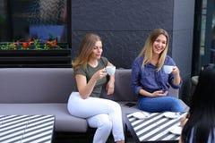 Femmes de sourire buvant du café au café et au repos Photographie stock