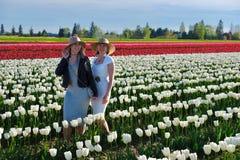 Femmes de sourire d'amis dans le domaine coloré de tulipes Photographie stock libre de droits