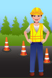 Femmes de travailleur de construction de routes avec des mains sur des hanches Image stock