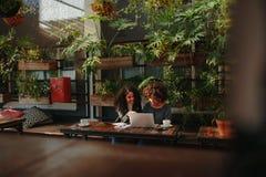 Femmes discutant des idées au-dessus de café Photographie stock libre de droits