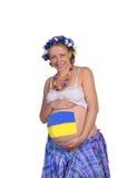 Femmes enceintes avec l'art de fuselage sur son estomac Photo libre de droits