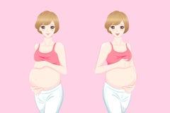 Femmes enceintes de bande dessinée de beauté illustration de vecteur