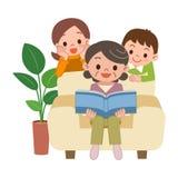Femmes et petits-enfants supérieurs d'album de vue illustration stock