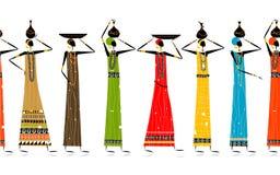 Femmes ethniques avec des cruches, fond sans joint Image stock