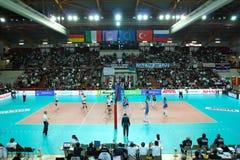 femmes européens de volleyball de cuvette de cev Images libres de droits