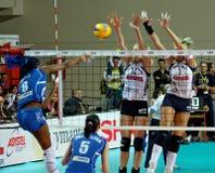 femmes européens de volleyball de cuvette de cev Photographie stock