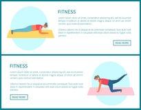 Femmes faisant l'exercice sur le tapis, vecteur de pompage de Web illustration stock