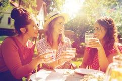 Femmes heureuses avec des boissons à la réception en plein air d'été Image libre de droits