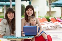 Femmes heureuses avec l'ordinateur portatif à l'hôtel de ressource Image stock