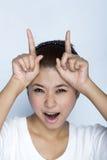 femmes heureuses d'expression jeunes Image stock