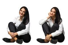 Femmes heureuses et tristes d'affaires Image stock