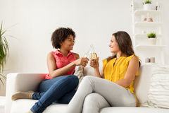Femmes heureuses faisant tinter des bouteilles de bière à la maison Image libre de droits