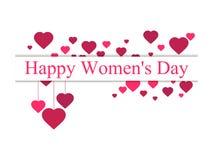 Femmes heureuses jour, le 8 mars Jour du `s de mère Carte de voeux avec les coeurs, la bannière et l'affiche Conception de typogr Images stock