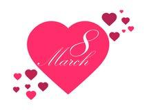 Femmes heureuses jour, le 8 mars Jour du `s de mère Carte de voeux avec les coeurs, la bannière et l'affiche Conception de typogr Photographie stock libre de droits