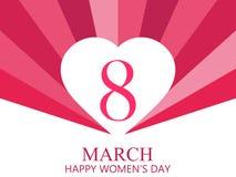Femmes heureuses jour, le 8 mars Jour du `s de mère Carte de voeux avec les coeurs, la bannière et l'affiche Conception de typogr Photo stock