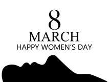 Femmes heureuses jour, le 8 mars Jour du `s de mère Carte de voeux, bannière et affiche Conception de typographie Vecteur Photo stock