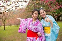 Femmes heureuses portant le voyage traditionnel de kimono Photo stock