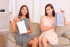 Femmes heureuses regardant ensemble des achats des paniers Image stock
