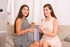 Femmes heureuses regardant ensemble des achats des paniers Images stock