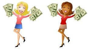 Femmes heureuses retenant un bon nombre d'argent comptant Image stock