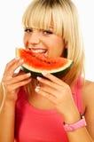 Femmes heureux avec des fruits Photos stock