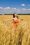Femmes heureux dans le blé Photo stock
