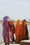 Femmes indiennes dans des saris marchant à côté d'un lac dans Jaisalmer, Inde photo libre de droits