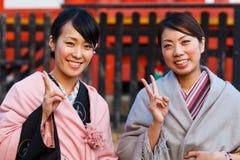 Femmes japonaises avec le kimono traditionnel photographie stock libre de droits