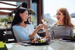 Femmes joyeuses positives faisant tinter leurs verres Photographie stock libre de droits