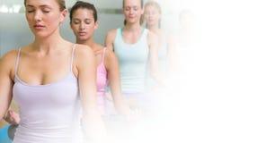 Femmes méditant dans la classe de yoga Image libre de droits