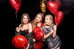 Femmes magnifiques avec des ballons Photographie stock libre de droits