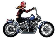 Femmes montant la moto de couperet Photos libres de droits