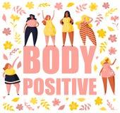 Femmes multiraciales de taille différente et du même chiffre type et taille plus Personnages de dessin animé femelles Grand posit photos libres de droits