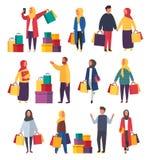 Femmes musulmanes de achat avec des sacs Illustration de vente de vecteur illustration de vecteur