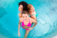 Femmes nageant dans la piscine Photo stock
