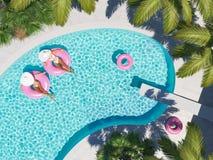 Femmes nageant sur le flotteur dans une piscine rendu 3d Photos stock