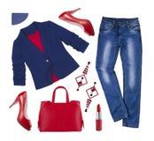 Femmes occasionnelles habillement et accessoires de mode de ville d'isolement sur le blanc Photo stock