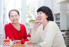 Femmes parlant à la table de cuisine Photos libres de droits