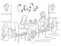 Femmes parlant et buvant du café dans le vecteur extérieur d'illustration de croquis blanc noir graphique de café de rue illustration stock