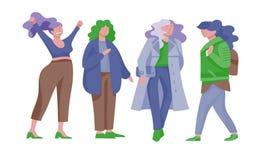 Femmes plus de taille habillées dans l'habillement élégant Ensemble de filles sinueuses portant les vêtements à la mode Caractère illustration libre de droits