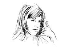 Femmes pour m'appeler geste Image stock