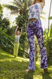 Femmes pratiquant le yoga. photo stock