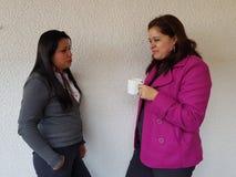 femmes prenant une tasse de café et parlant avec un ami Images libres de droits