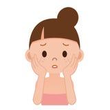 Femmes qui souffrent des taches et des taches de rousseur Photos stock
