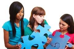 Femmes résolvant un puzzle denteux Photo stock