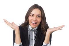Femmes réussies d'affaires confuses d'isolement sur le blanc Photo libre de droits