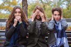 Femmes représentant des sens : muet, aveugle et sourd images stock