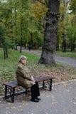 Femmes s'asseyant sur le banc de jardin Photographie stock